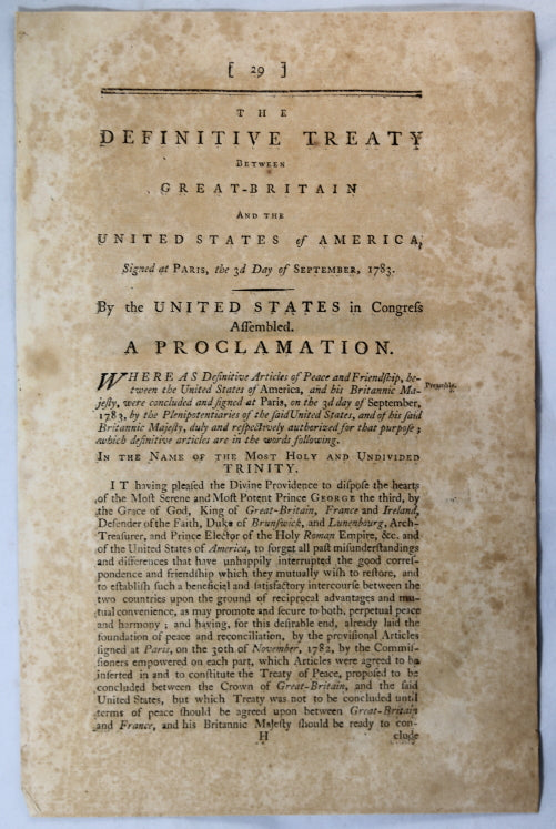 1789 Boston printing of Treaty of Paris (American War of Independence)