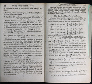 1789 UK The Ladies' Diary or Woman's Almanack + Supplement