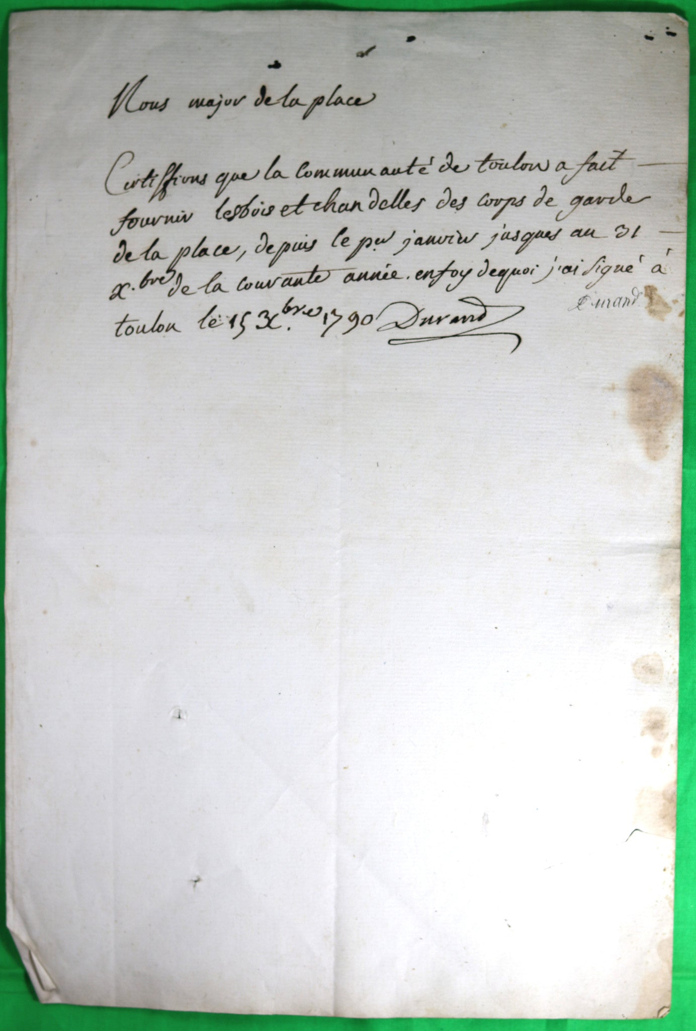 1790 Toulon certificat de fourniture corps de garde, Major fusillé en 1793