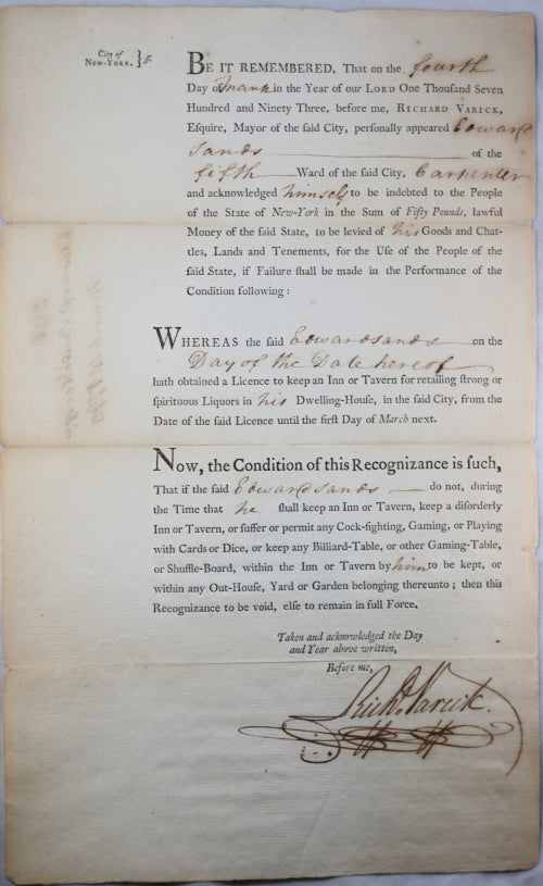 1793 NYC liquor licence for Edwards Sands, signed by Mayor Varick