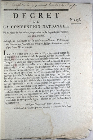 1793 décret Convention Nationale solde aux Volontaires ou Soldats
