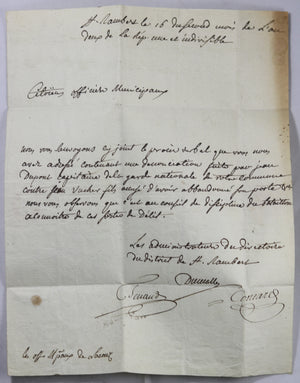 1793 lettre district St Rambert (Bugey), dénonciation d'un soldat