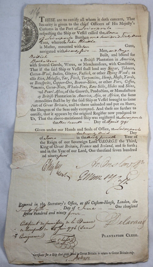 1794 customs clearance for ship going from Liverpool to Barbados