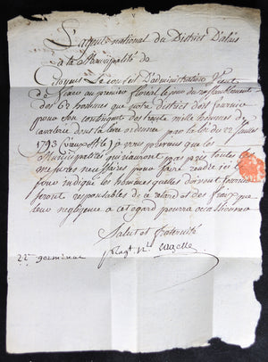 1794 lettre District d'Alais à St Ambroix (Gard) fourniture 62 cavaliers