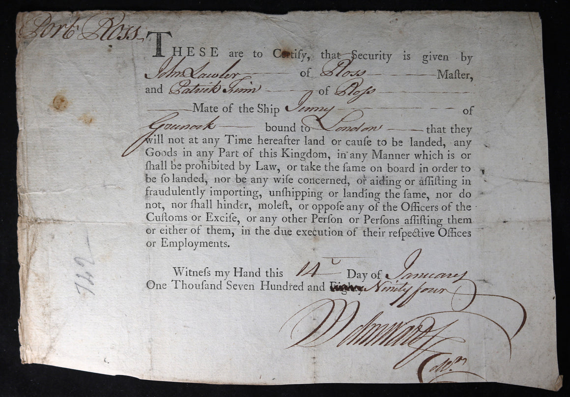 1794 security given by ship travelling from Ross Ireland to London