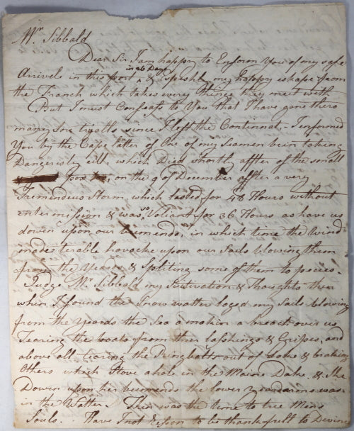 1797 letter from American ship captain in Jamaica, to Philadelphia merchant