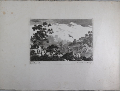 17th century engraving by Perelle of bucolic scene, published Drevet