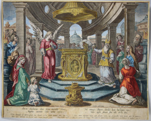 17th century print Cornelis Galle, Annunciation birth of John the Baptist
