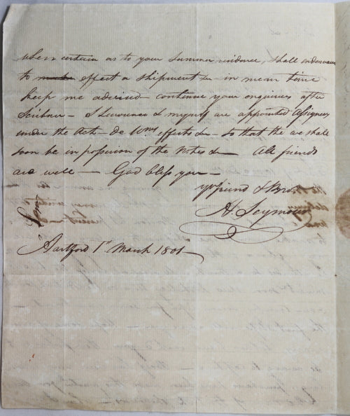 1801 Major Seymour letter Hartford to Cuba, British pirates, etc.