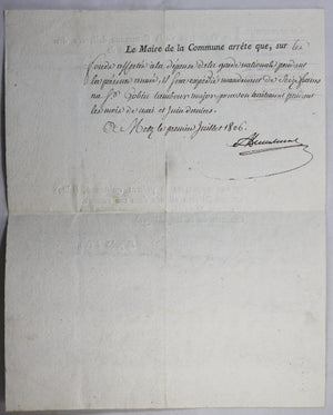 1806 Empire Metz, paiement tambour major Garde Nationale