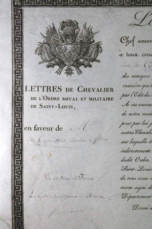 1814 Louis XVIII, nomination M. de Cypieres, Ordre Saint-Louis