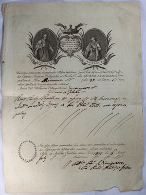 1814 religious document in Latin, superb letterhead engraving of saints