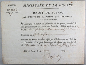 1815 Paris, lot de 3 documents militaires Adjt. Commandant Aussenac