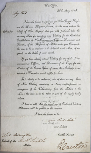 1815 letter Secretary of War Palmerston to Lord Milsington, Militia