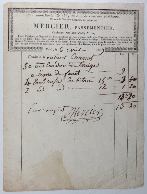 1829-31 Paris, lot de 5 factures de Magasins
