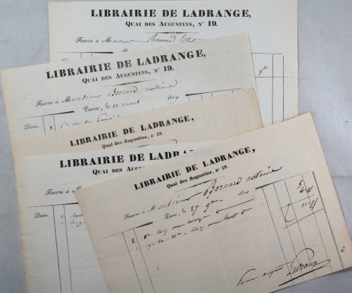 1829-31 Paris lot de 5 factures quittances Librairie de Ladrange