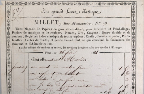 1831 Paris factures quittances 'Millet – Au grand Livre élastique'
