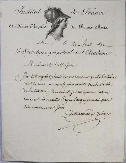 1831 Quatremère de Quincy, nomination Académie des Beaux-Arts (Paris)
