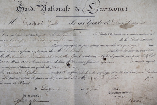 1834 nomination Garde Nationale de Larzicourt (Marne)