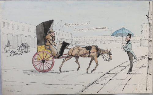 1835 watercolour caricature Lord Brougham (?), by John Paget  (UK)