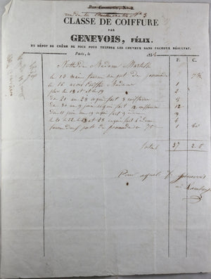 1838 lot de 4 factures marchands de Paris, archive Martell