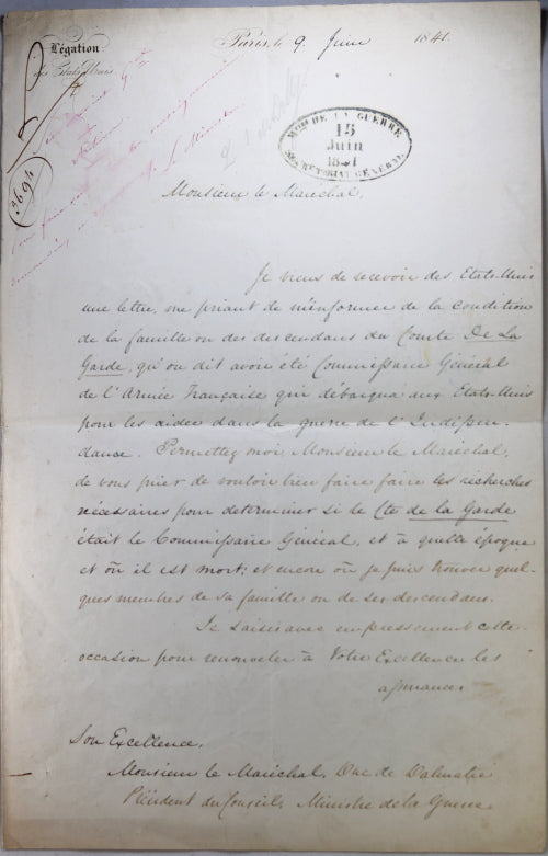 1841 US Ambassador to France, research on officer War of Independence