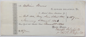 1844 receipt for medical services from Dr. Edward Delafield, NYC