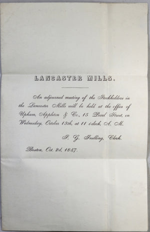 1847 invitation to stockholders meeting Boston MA