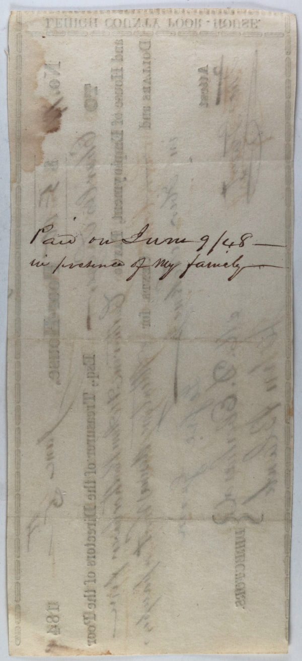 1848 Allentown PA Lehigh County Poor-House cheque for attending sick