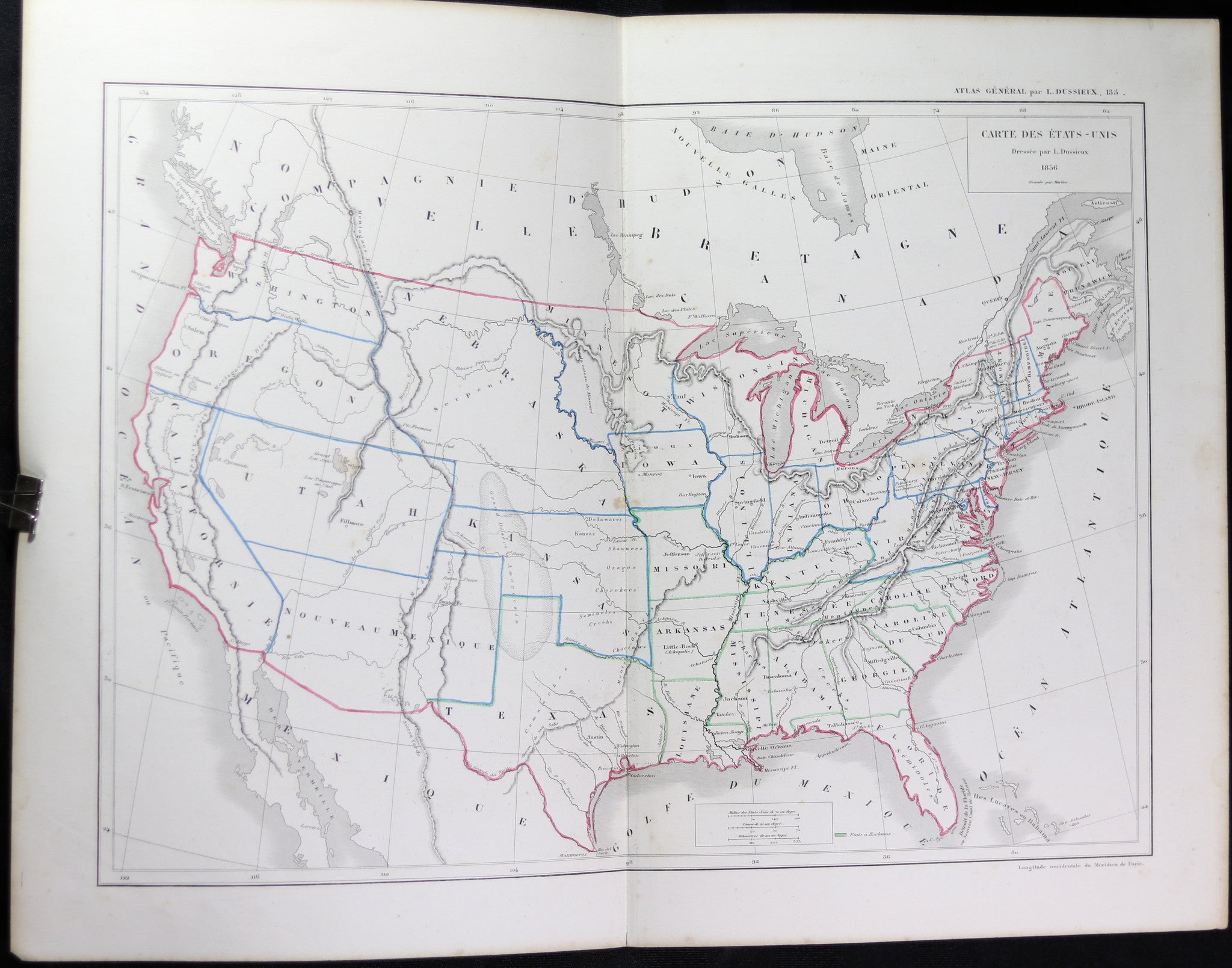 1856 French map of the United States and Canada by Dussieux
