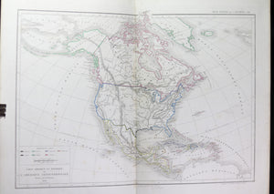 1856 map of North and Central America by Dussieux
