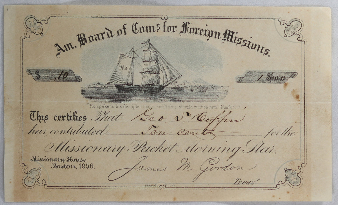 1856 share certificate for American Board of Commissions for Foreign Missions