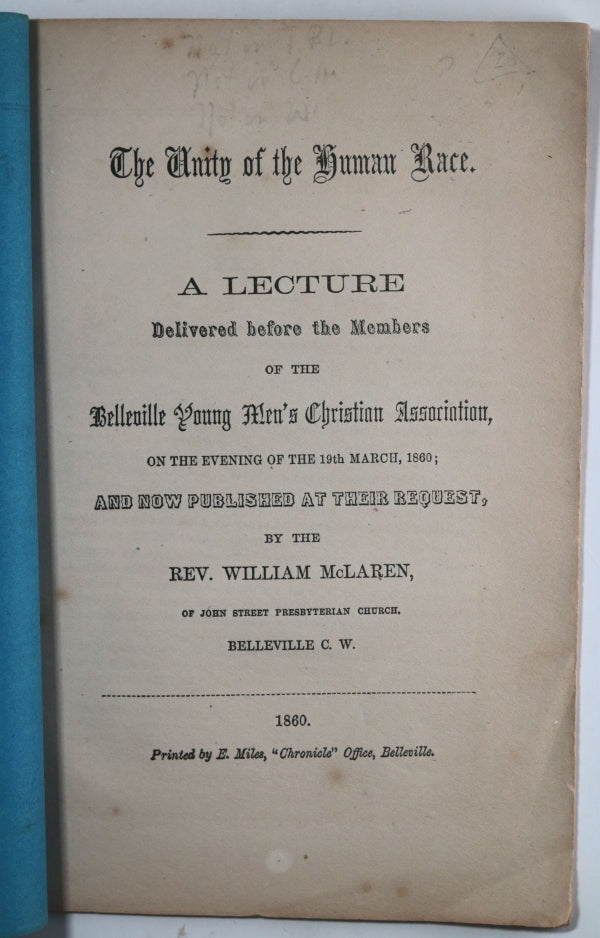 1860 pamphlet 'The Unity of the Human Race' Belleville Canada