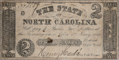 1861 Civil War, State of North Carolina $2 note October 6th 1861