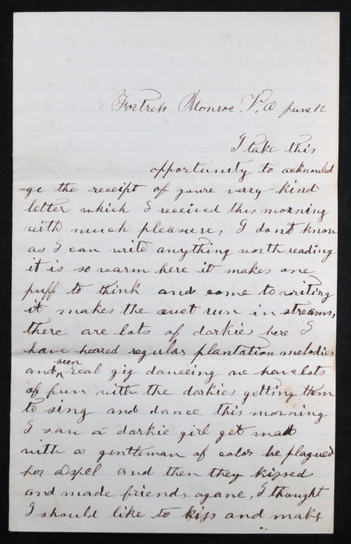 1861 Civil War soldier letter, 3rd Mass Infantry, African-Americans