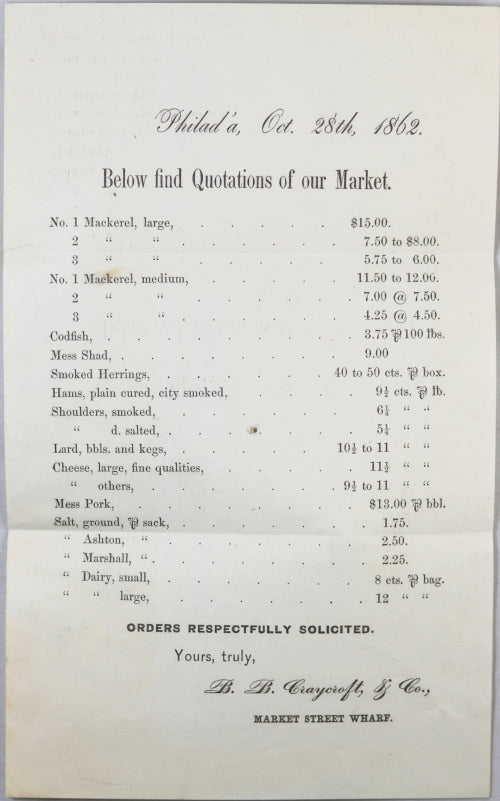 1862 Civil War Philadelphia, printed circular, prices for provisions