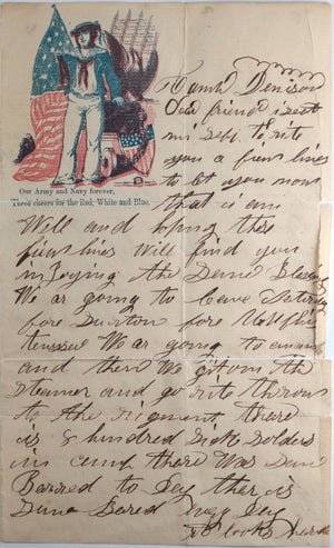 1862 Civil War patriotic Union soldier letter, Camp Dennison Ohio