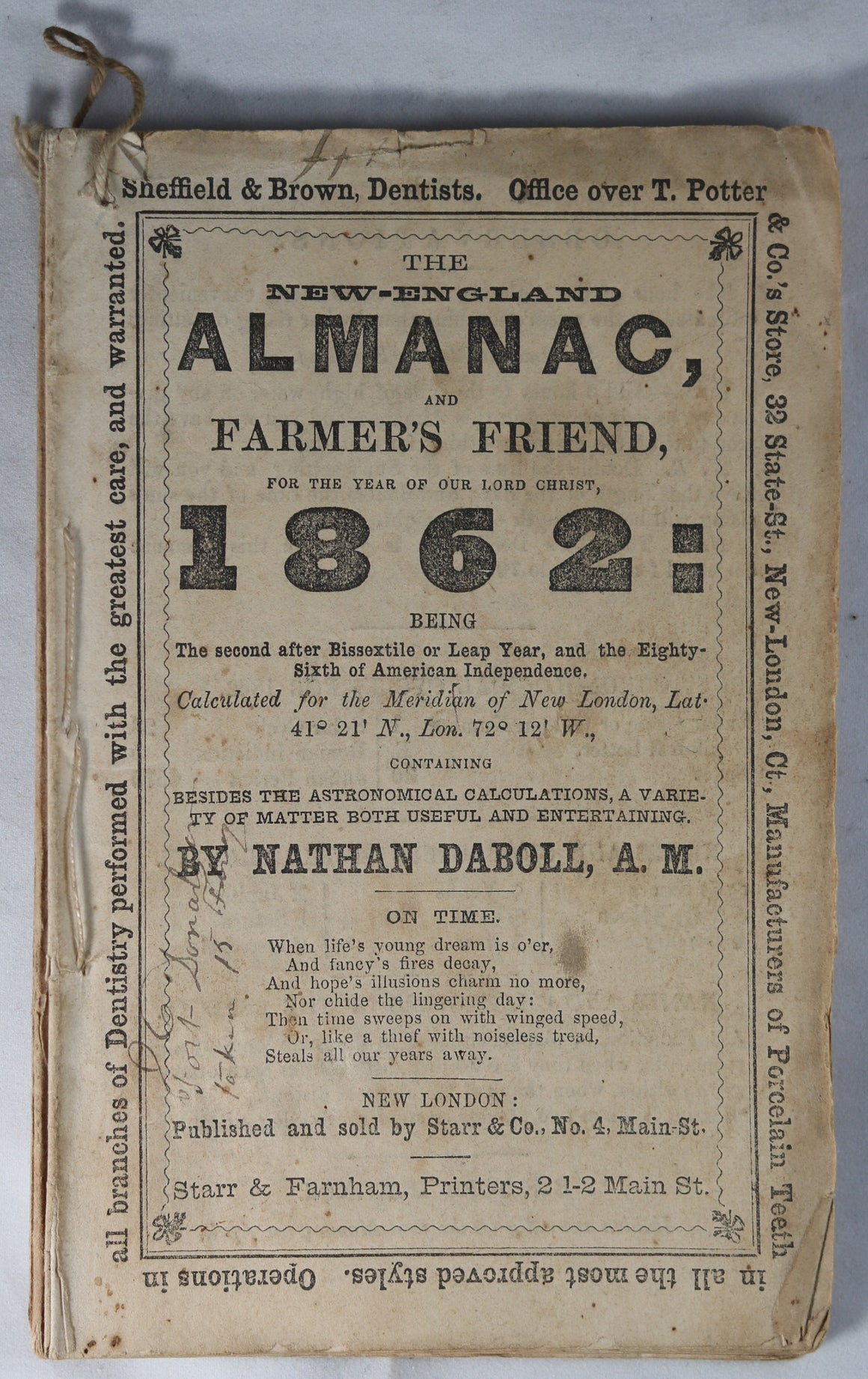 1862 New-England Alamanac and Farmer's Friend