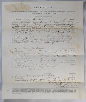 1862 discharge papers, Private 65th NY Volunteers (1st US Chasseurs)