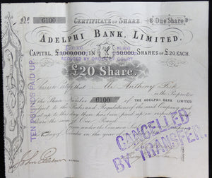 1863 Adelphi Bank Ltd (UK) - Certificate of One Share