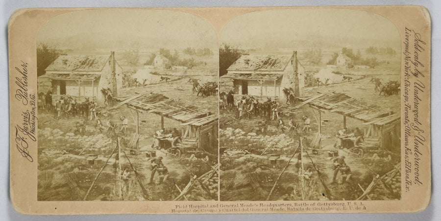 1863 Battle of Gettysburg – stereoscopic view Field Hospital and General Meade's HQ