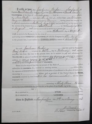 1863 Civil War discharge soldier 4th Michigan Cavalry (Murfreeboro TN)
