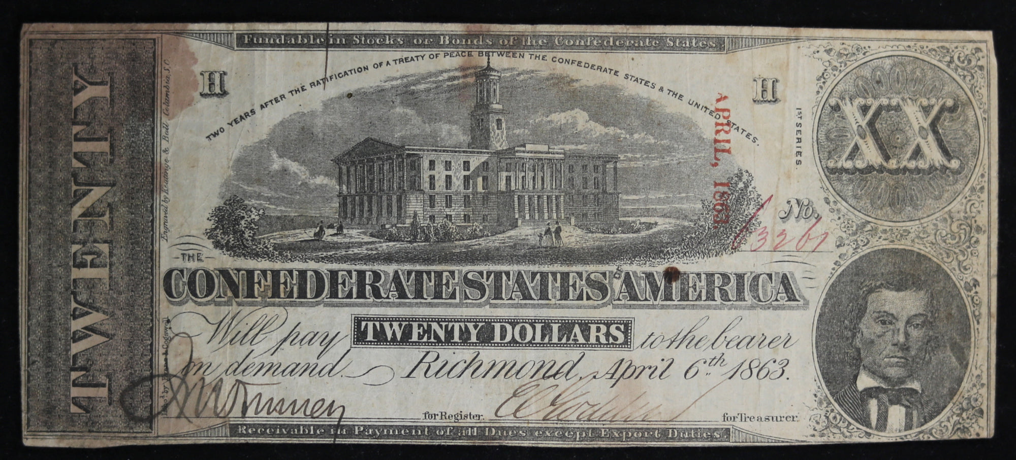 1863 Confederate States of America $20 Richmond Virginia