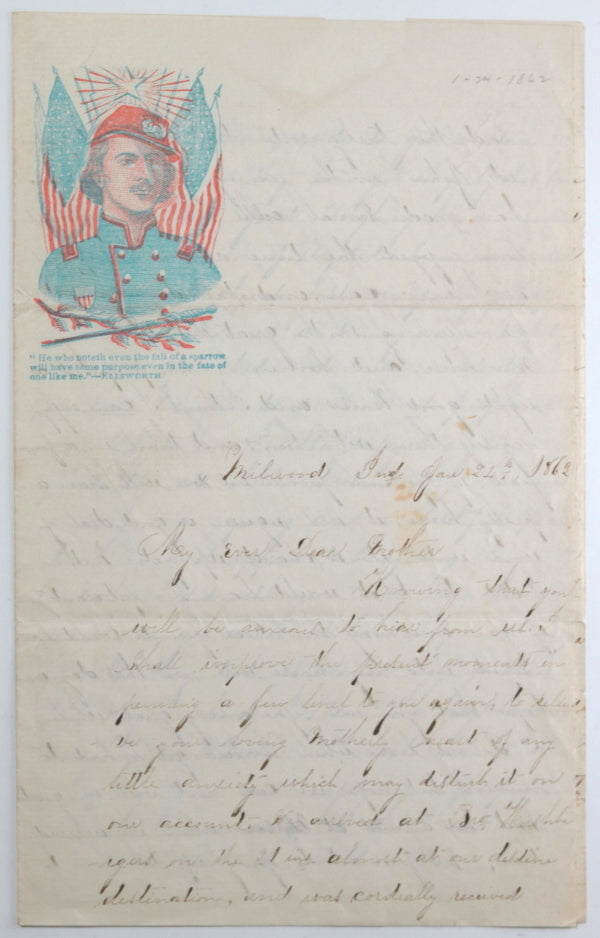 1863 Indiana letter with Patriotic letterhead, daughter to mother