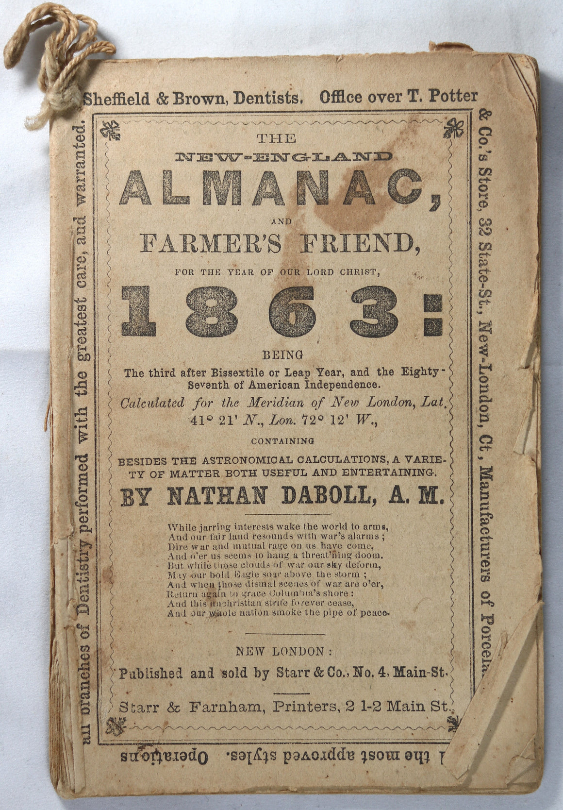 1863 New-England Almanac and Farmer's Friend