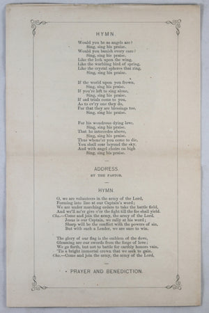 1863 anniversary pamphlet for Sabbath School (Chelsea MA)