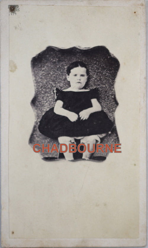 1864-66 calling card photo of young girl, with tax stamp