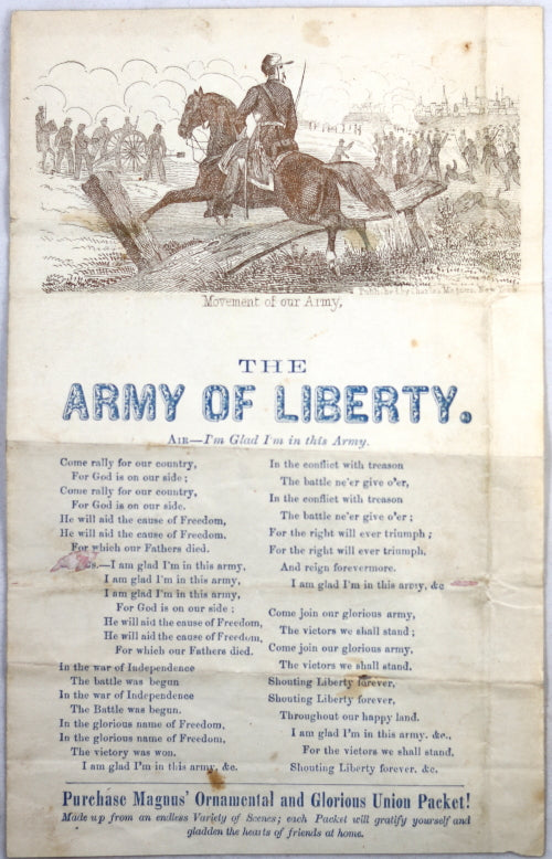1864 Charles Magnus illustrated  'Army of Liberty' song sheet