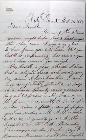 1864 Civil War Union chaplain letter, City Point VA.