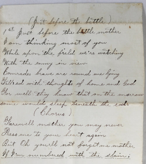 "1864 Civil War handwritten song lyrics to ""Just Before the Battle"""